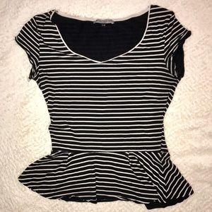 Purchased in Europe black striped peplum top